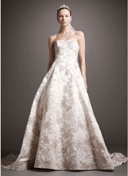 Satin ball gown with ombre beaded lace appliques davids for Oleg cassini champagne wedding dress