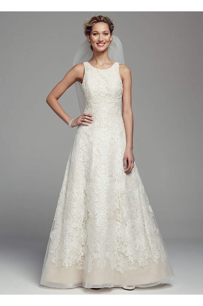 Oleg Cassini Tank Tulle Wedding Dress with Lace - You'll look glamorous on your special day in