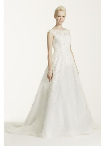 As-Is Oleg Cassini Lace Wedding Dress with Flowers AI14010464