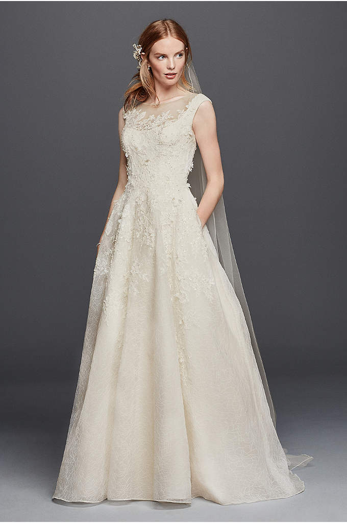 As-Is Cap Sleeve Wedding Dress with Textured Skirt - More than 100 three-dimensional flowers are thoughtfully placed