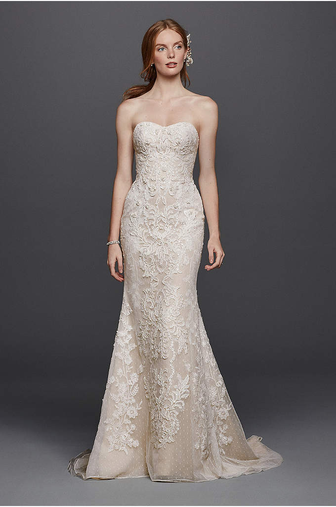 As-Is Oleg Cassini Point D'Esprit Wedding Dress - Layers of lace create multidimensional texture on this