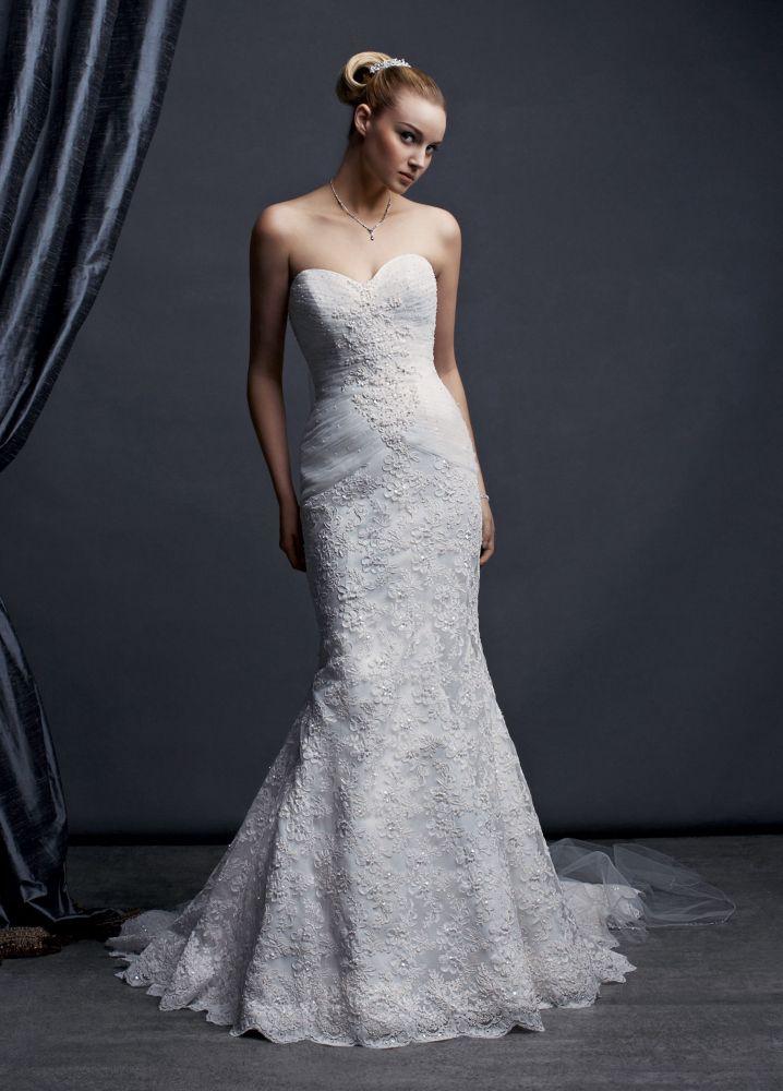 David's Bridal SAMPLE: Sweetheart Beaded Lace Trumpet Wedding Dress Style AI1...