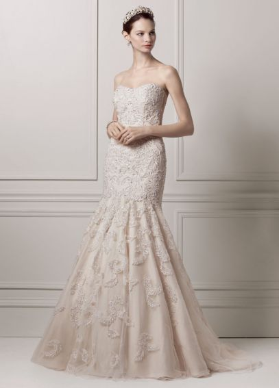 Taffeta Strapless Trumpet Wedding Dresses With Beaded Lace : Strapless trumpet all over lace and beaded gown davids