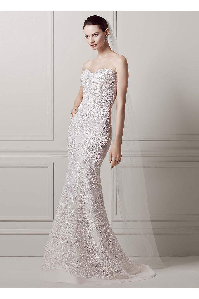Strapless Lace Sheath Gown with Pearl Beading - Featuring an astounding 50,000 sparkling pearls delicately beaded