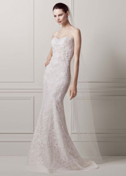 Strapless Lace Sheath Gown with Pearl Beading | David's Bridal