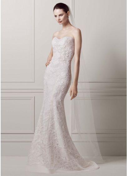 Strapless lace sheath gown with pearl beading davids bridal long sheath wedding dress junglespirit Gallery