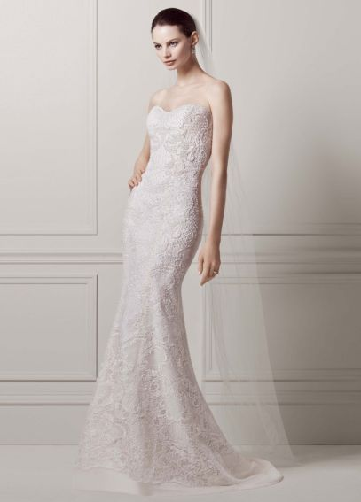 Strapless Lace Sheath Gown with Pearl Beading AI14020088
