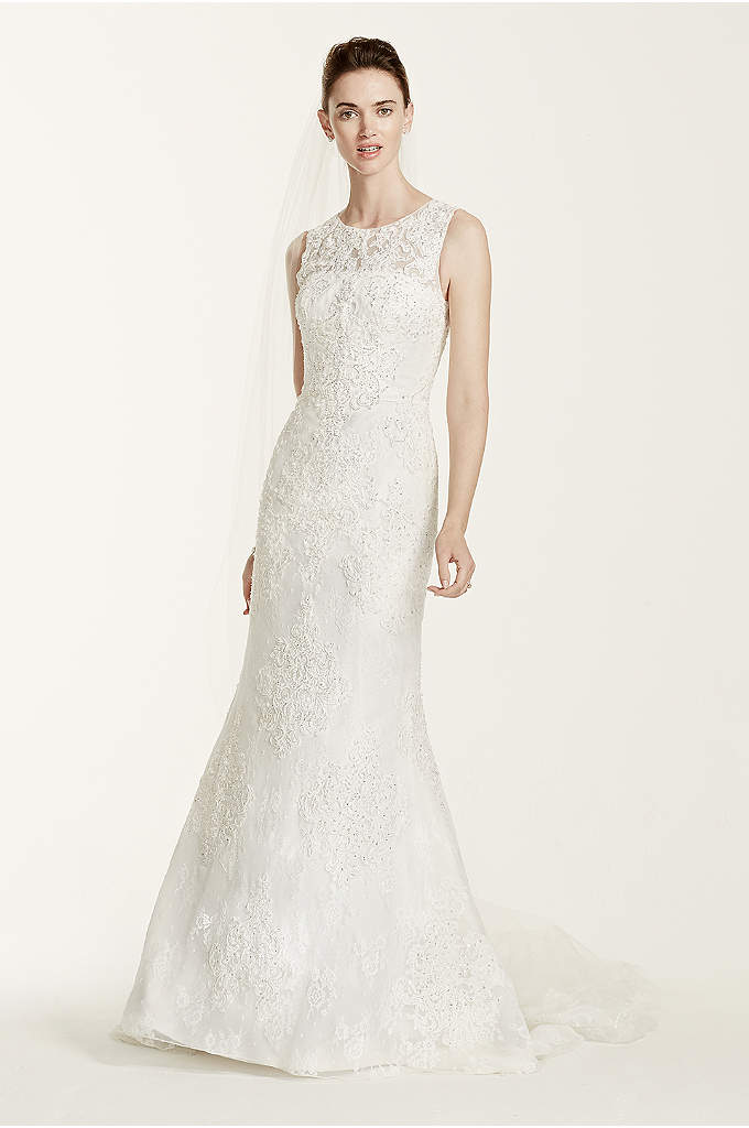 As-Is Tank Wedding Dress with Illusion Back - All the brides will swoon over the details