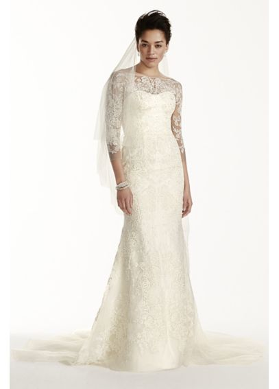 As-Is Tulle Wedding Dress with 3/4 Sleeves AI14020111