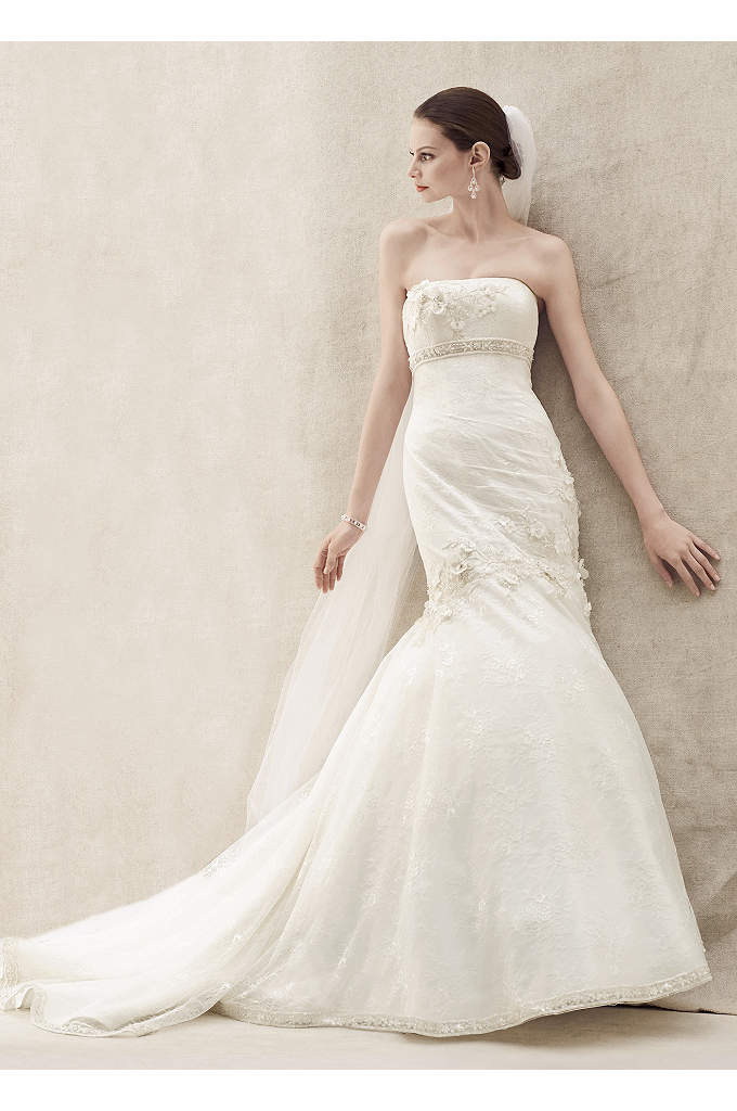 Lace Mermaid Gown with Floral Details - Lace mermaid gown is sophisticated and romantic, perfect