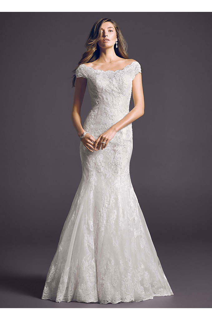 Off The Shoulder Chantilly Lace Trumpet Gown - Classic beautiful meets timeless elegance in this heavenly