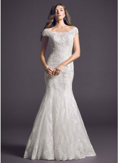 Off the shoulder chantilly lace trumpet gown david 39 s bridal for Chantilly lace wedding dress