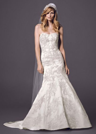 Strapless Satin Trumpet Gown with Lace AI14030093