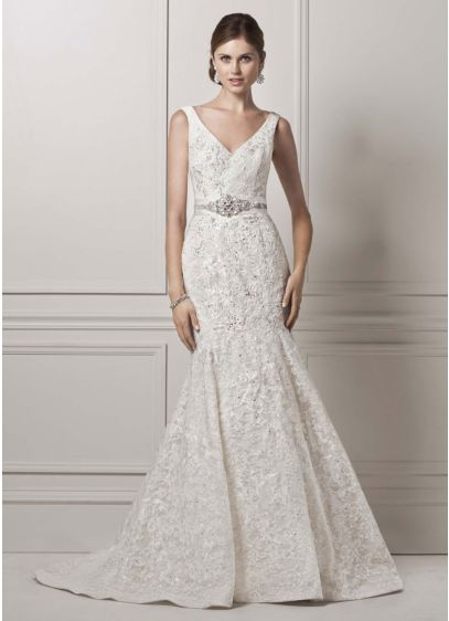 All Over Lace Trumpet Gown with Deep V Neckline | David\'s Bridal
