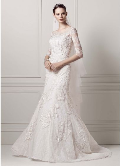 34 sleeve lace trumpet gown ai14030118 long mermaid trumpet wedding dress