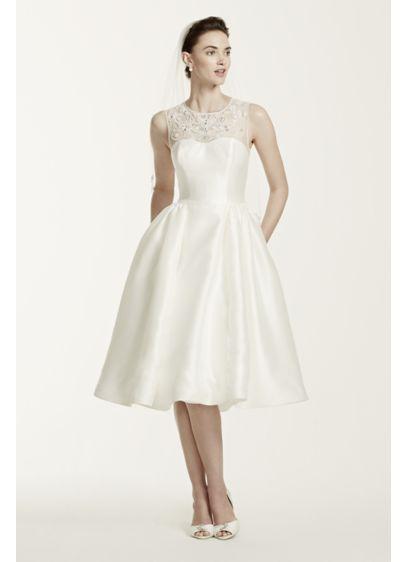 As is oleg cassini mikado tea length wedding dress david for Oleg cassini wedding dress tea length