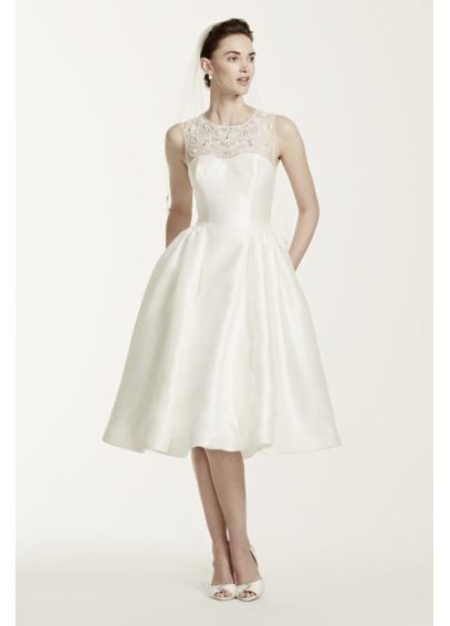 As-Is Oleg Cassini Mikado Tea Length Wedding Dress ...