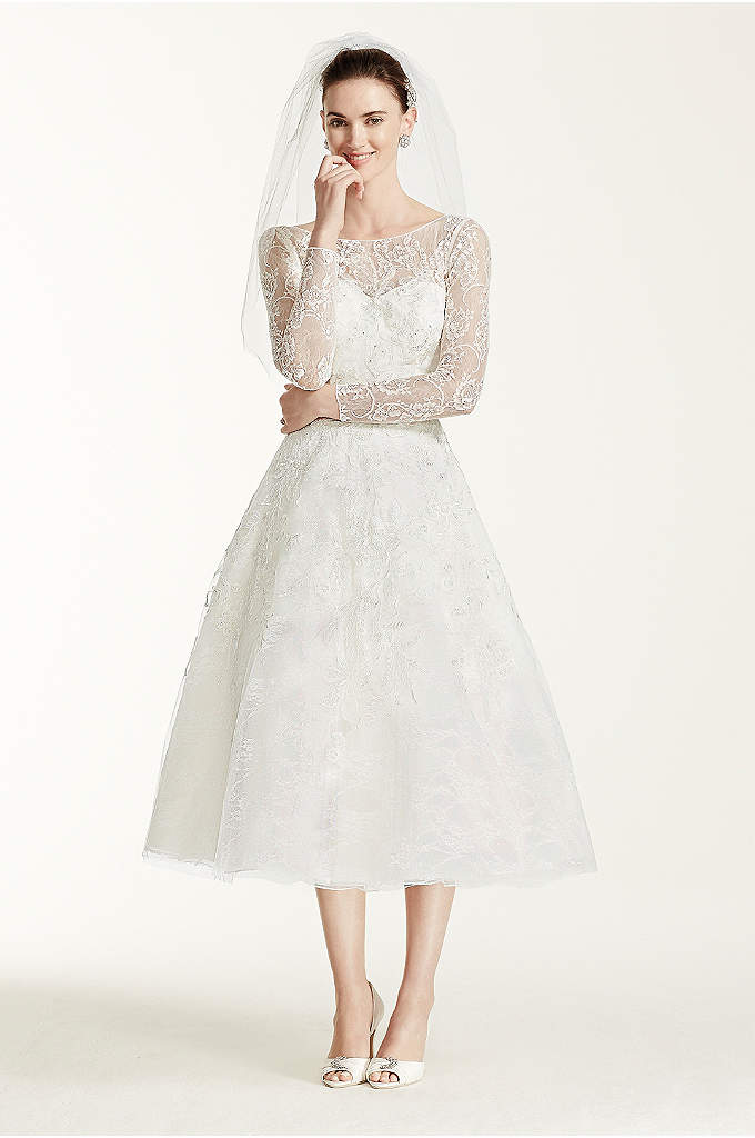 As-Is Tea Length Lace Tulle Wedding Dress - This stunning gown has vintage inspiration that would