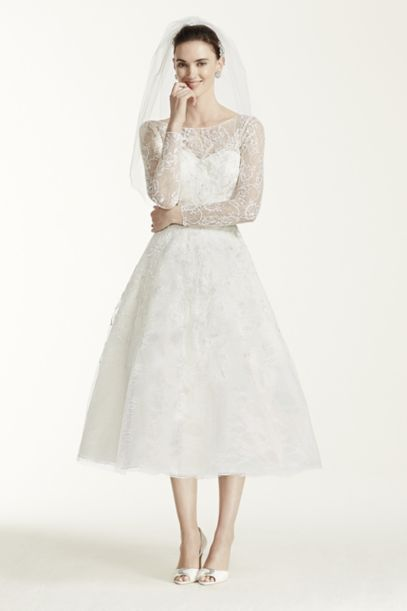 As-Is Tea Length Lace Tulle Wedding Dress | David's Bridal