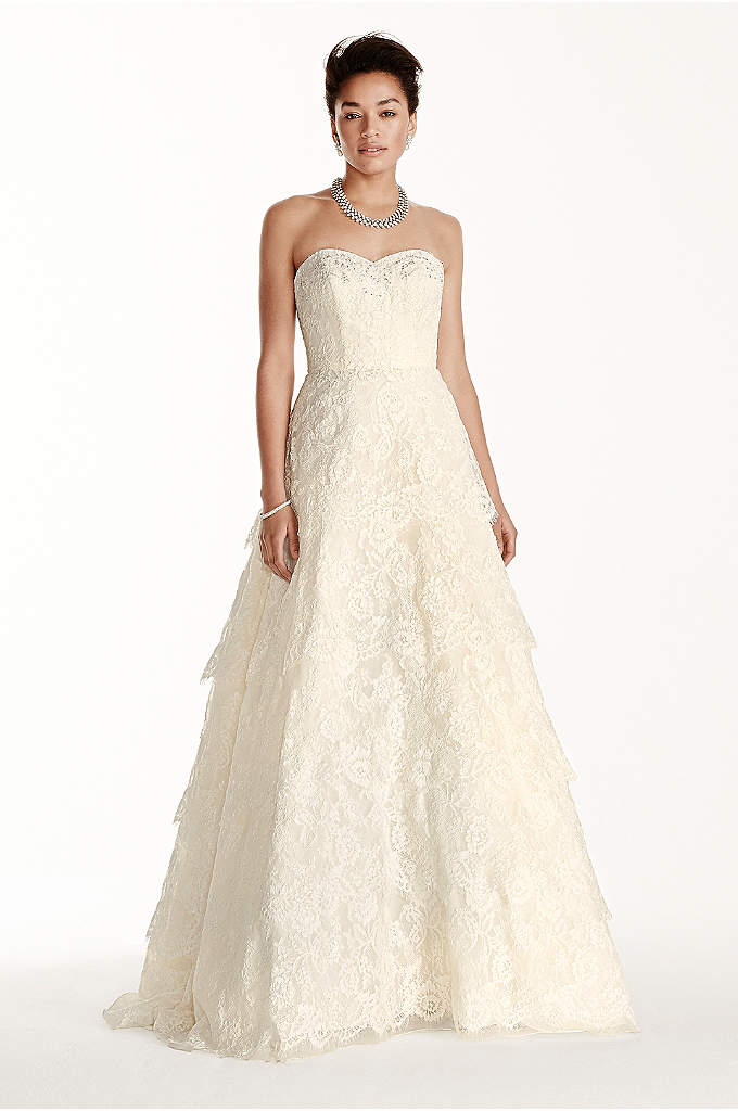 As-Is Strapless Sweetheart Beaded Lace Dress - Elegance and beauty make this dress a winner