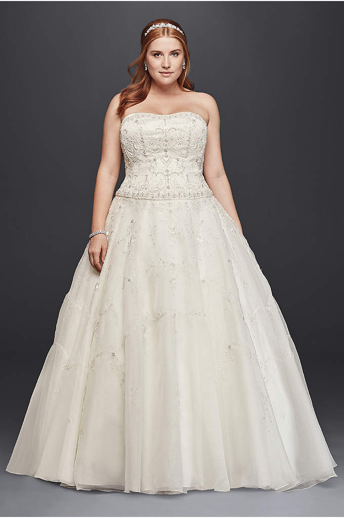 As-Is Extra Length Satin and Organza Wedding Dress - This beautiful extra length plus size wedding dress