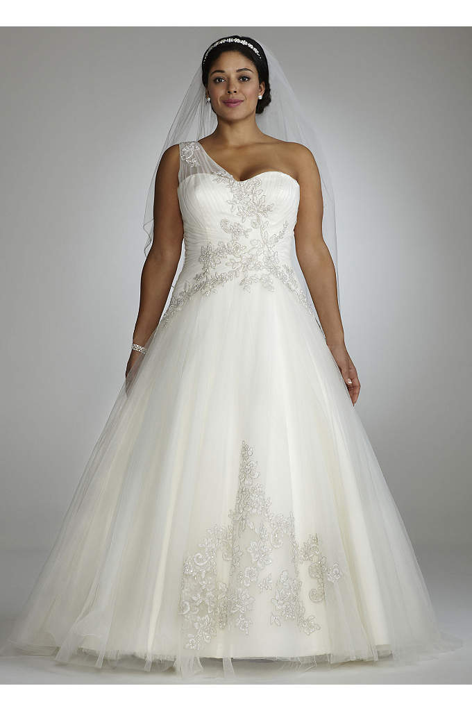 As-Is One Shoulder Tulle Ball Gown Wedding Dress - Enchanting and elegant, this one shoulder ball gown