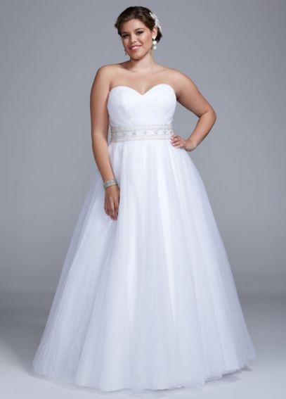 Extra Length Strapless Ball Gown with Beaded Belt AI14310100