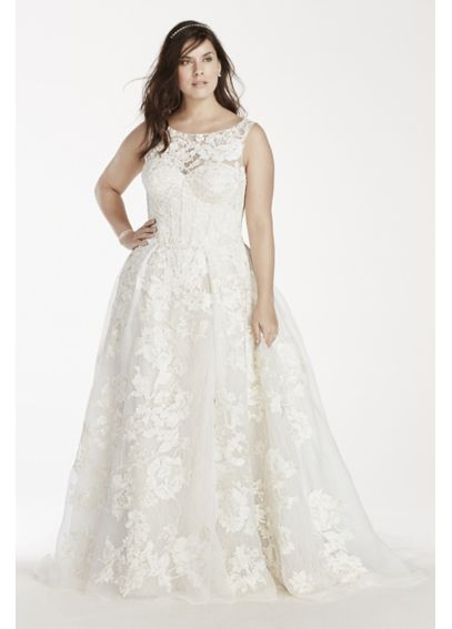 Oleg Cassini Tank Lace Wedding Dress with Beads AI14310127
