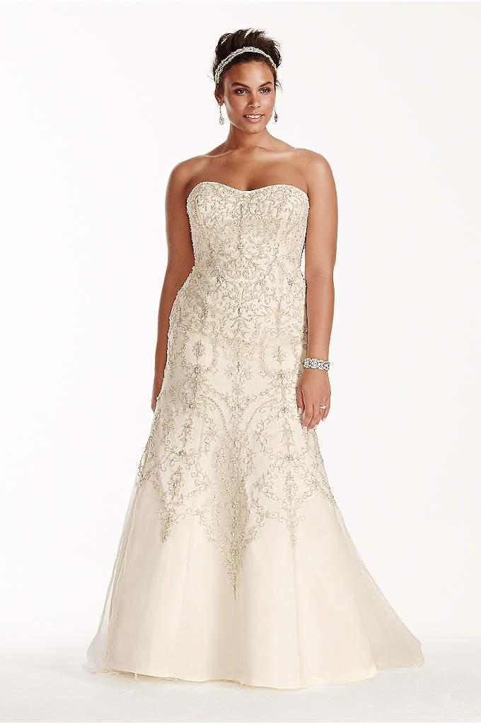 Oleg Cassini Tulle Beaded Mermaid Wedding Dress - This strapless mermaid dress will have you looking