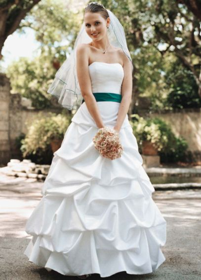 Strapless satin pick up ball gown davids bridal for Pick up wedding dress