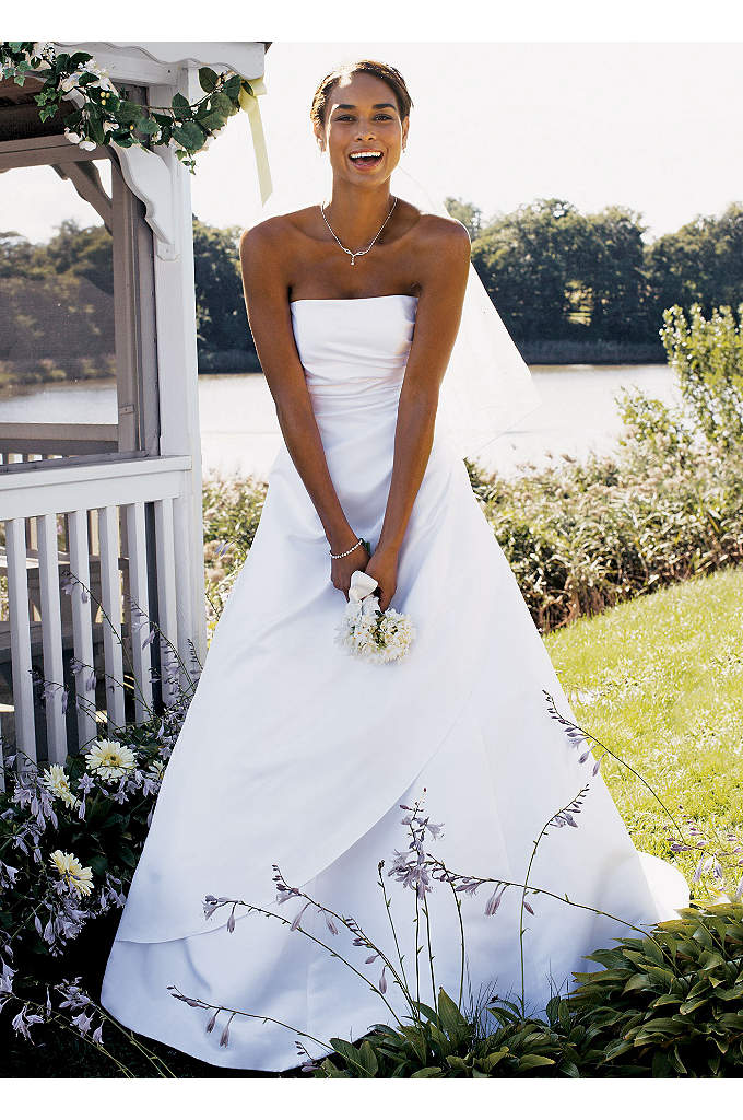 Satin A-line with Asymmetrical Skirt - Satin A-line gown with side-draped bodice and asymmetric
