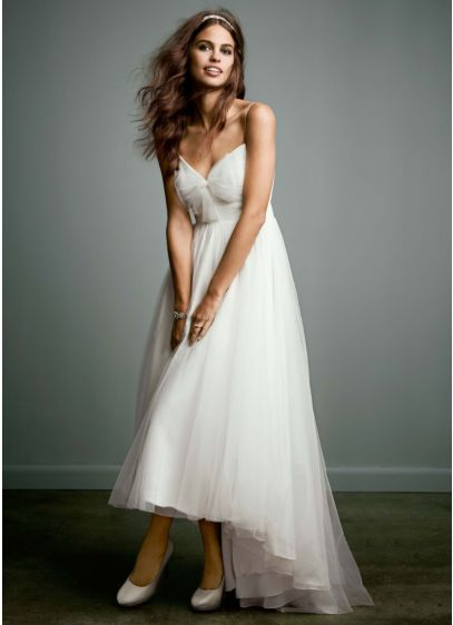 Wedding Photography Under 500: Tulle Over Chiffon High Low Dress With Bow Accent