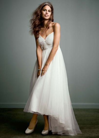 Tulle Over Chiffon High Low Dress with Bow Accent  AI16010071