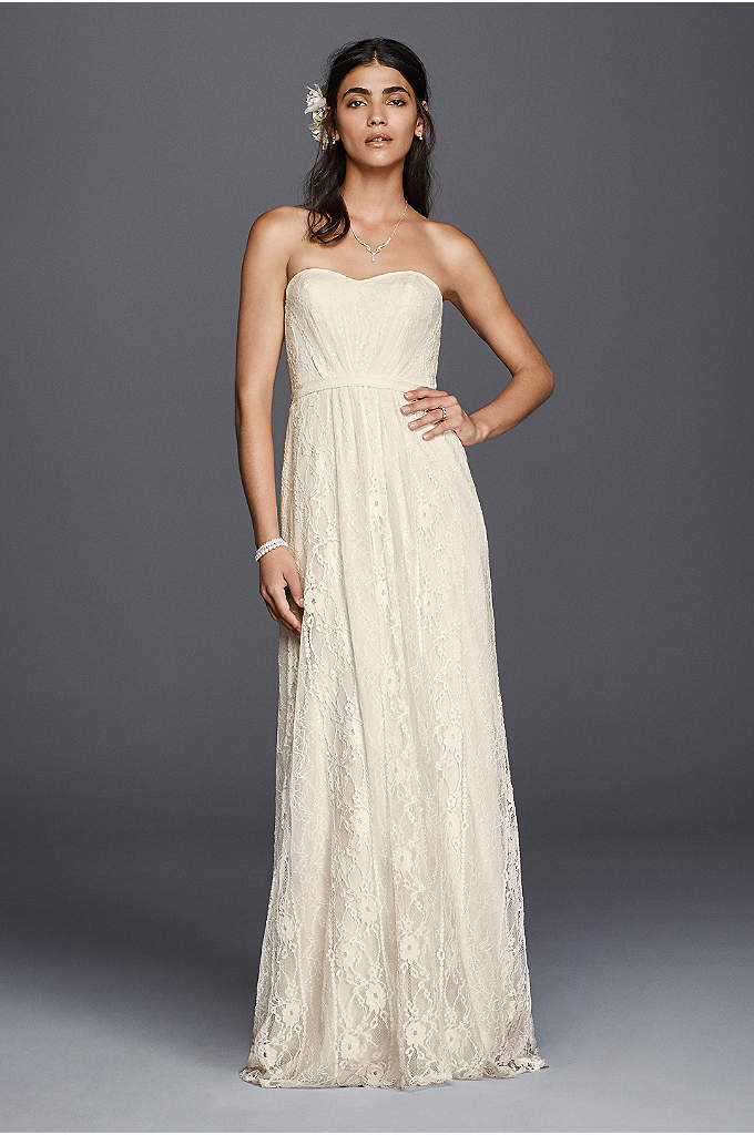 As-Is Strapless Linear Lace Sheath Wedding Dress - A linear pattern gives classic lace a fresh