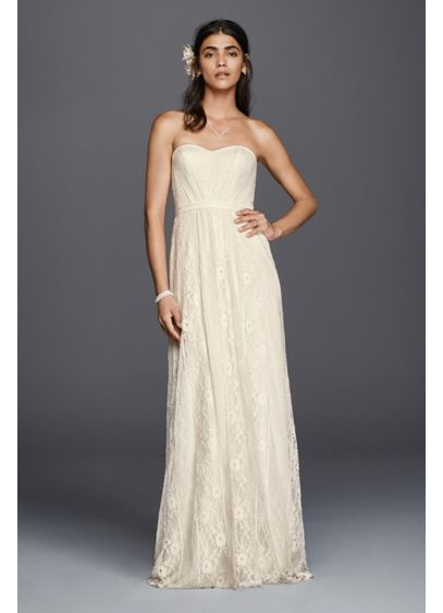 As Is Strapless Linear Lace Sheath Wedding Dress