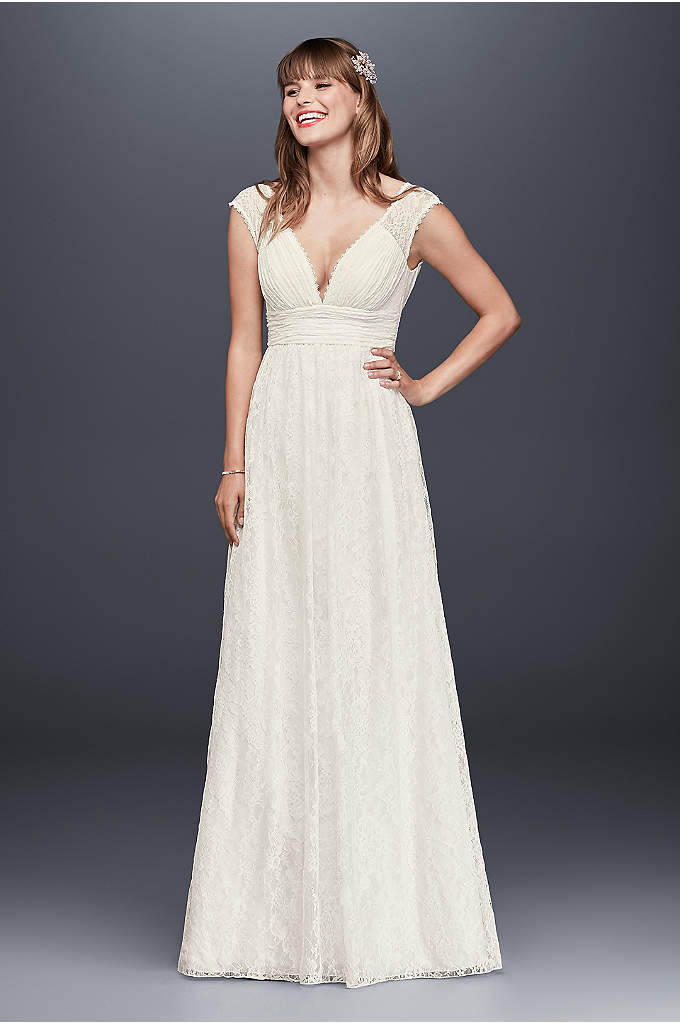 As-Is Lace Sheath Wedding Dress with Illusion Cap - The delicate illusion lace cap sleeves perfectly balance
