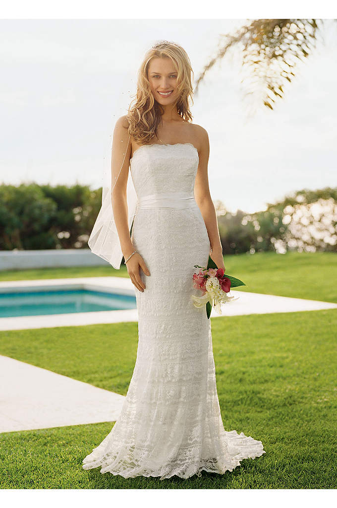 Beaded Lace Sheath with Godet Inserts - Beautifully beaded lace gown is slimming and elegant.