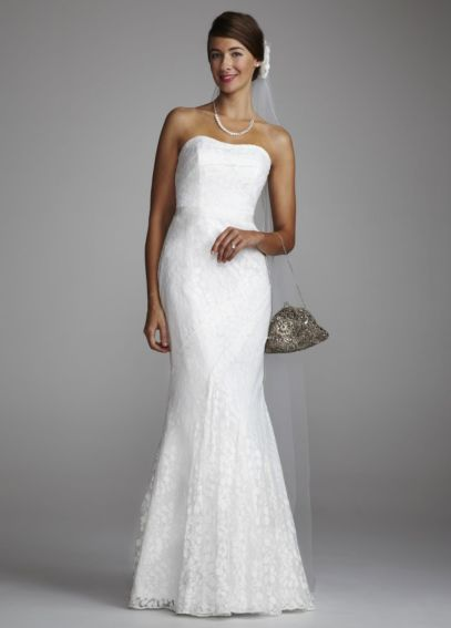 Extra Length Strapless Lace Gown Ribbon Detail AI16020152