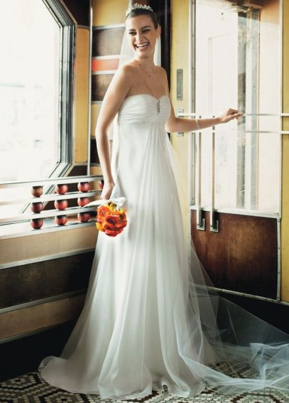 Soft Organza Gown with Ruched Empire Bodice  AI16040098