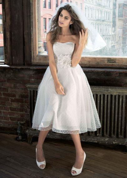 Tea Length Dotted Organza Wedding Gown - Davids Bridal