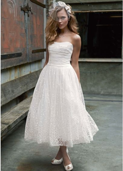 Embroidered Tea Length Gown with Ruched Waist   David's Bridal
