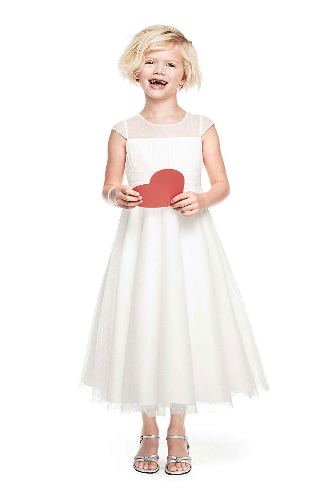 Illusion Cap Sleeve Dot Tulle Dress