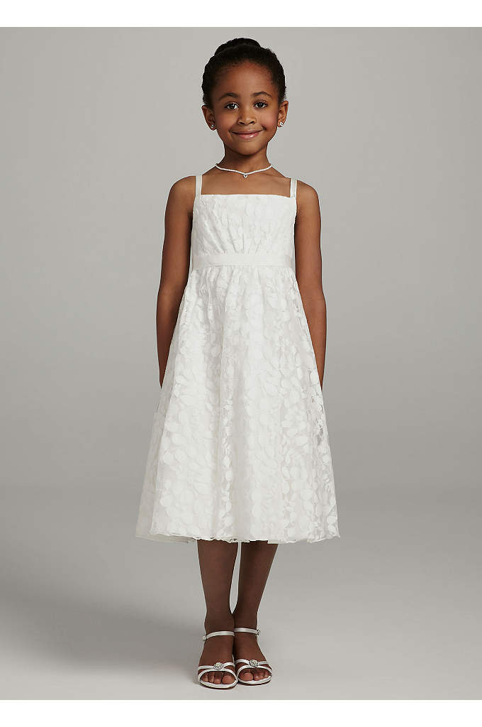 Spaghetti Strap All Over Lace Ball Gown - Your flower girl will be picture perfect in