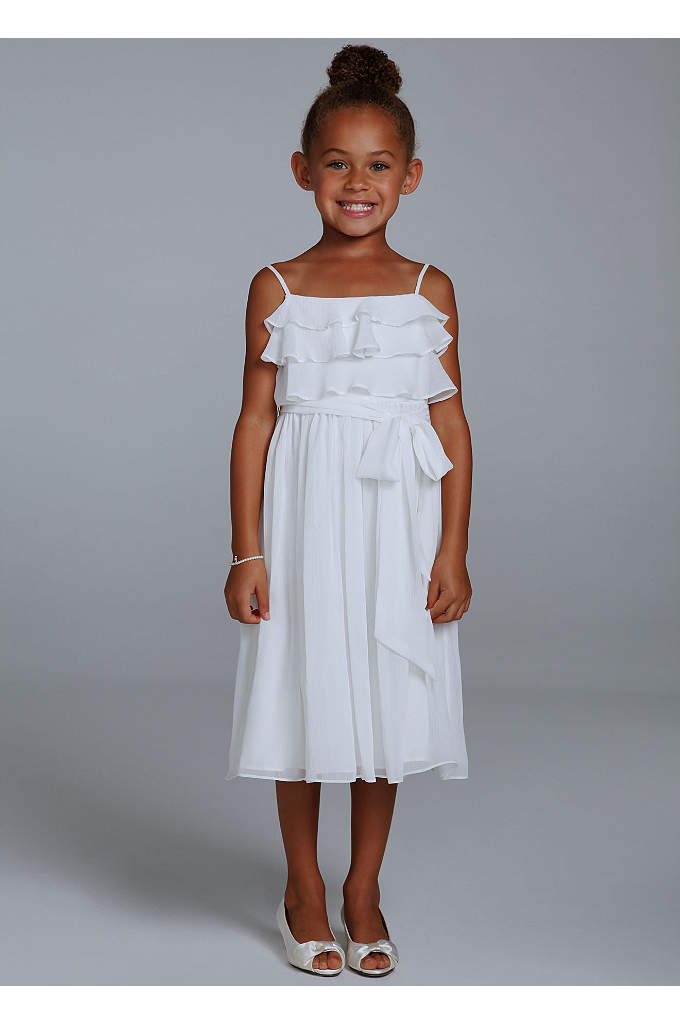 As-Is Crinkle Chiffon Tea Length Flower Girl Gown - Stylish and youthful, this is a must-have dress