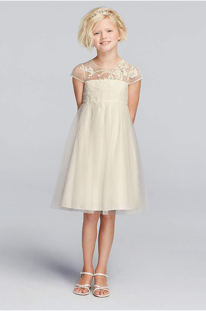 As-Is Mesh Flower Girl Dress with Illusion Necklin - Simple yet elegant, your flower girl will look
