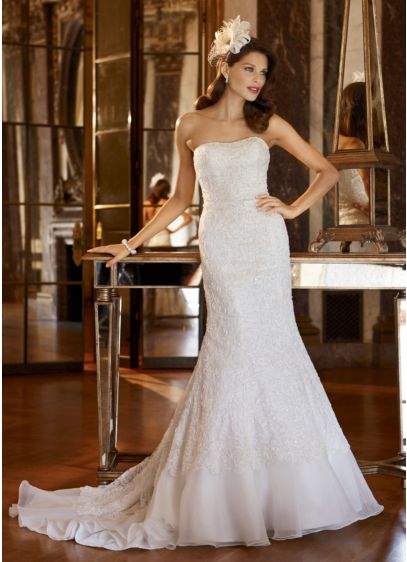 Petite Lace Over Charmeuse Gown with Soutache | David\'s Bridal