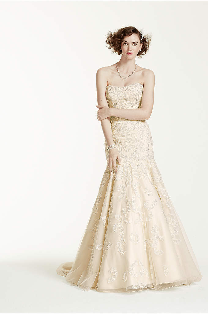 As-Is Strapless Trumpet Gown with Beaded Details - Designing your dream wedding starts with the perfect