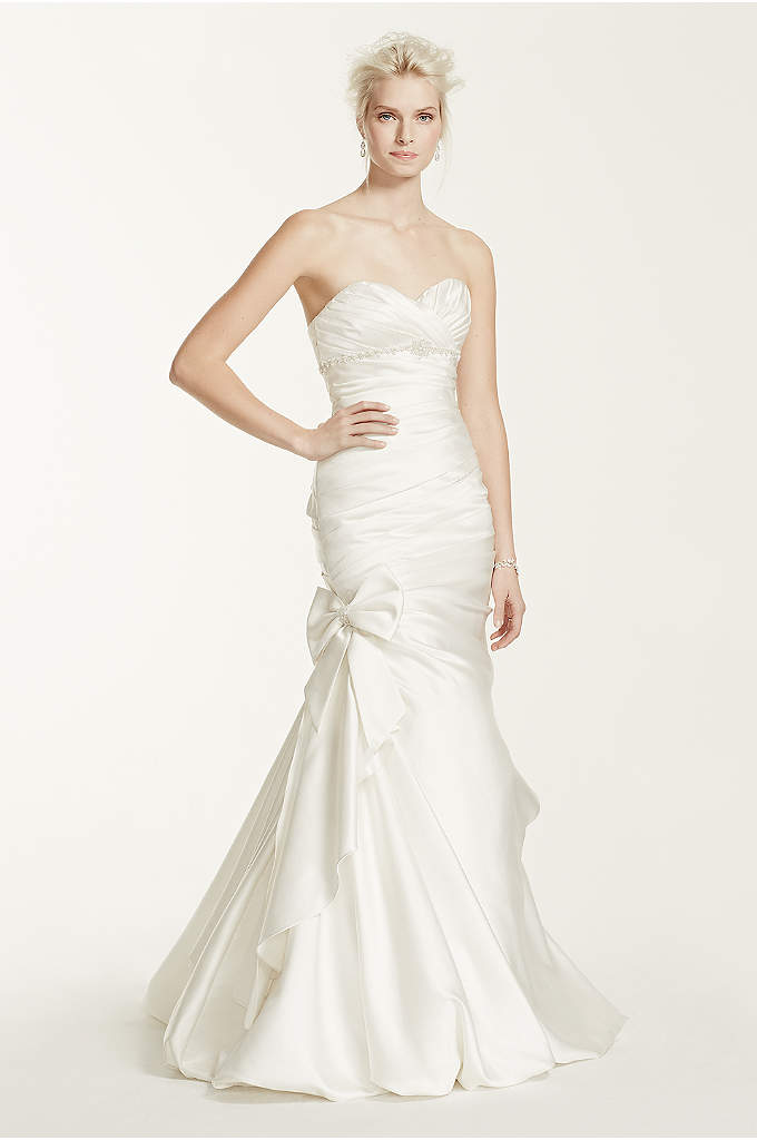 As-Is Petite Wedding Dress with Side Bow Accent - Breathtakingly beautiful, this satin mermaid gown is stylish