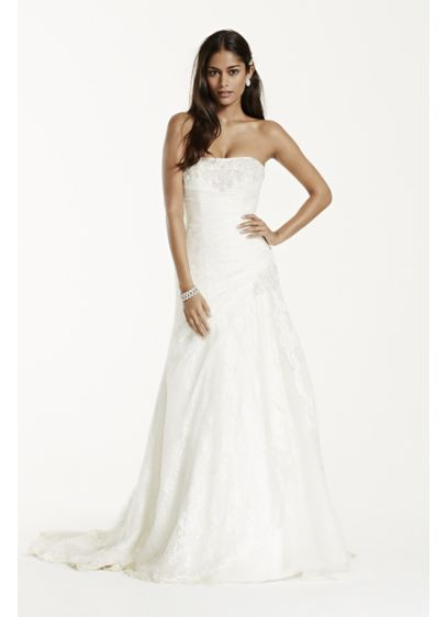 Petite lace a line gown with side split davids bridal for Petite lace wedding dresses
