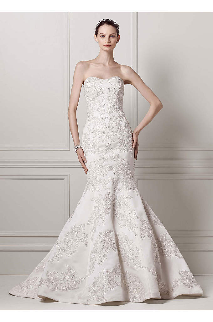 Petite Strapless Satin Trumpet Gown with Lace - Romantic and beautifully designed this satin trumpet wedding